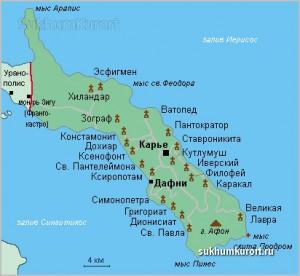 Афон на карте